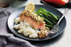 Pecan-crusted salmon with cauliflower mash