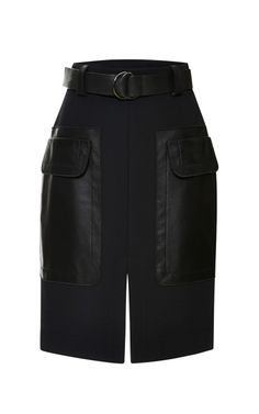 Black Belted Skirt With Leather Patch Pockets by 10 Crosby Derek Lam - Moda Operandi