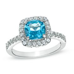 7.0mm+Cushion-Cut+Swiss+Blue+Topaz+and+Lab-Created+White+Sapphire+Ring+in+Sterling+Silver+-+Size+7