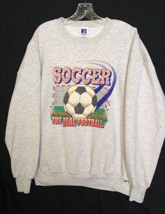 90s Vintage Russell Athletic Sweatshirt Gray Soccer Real Football Size XL USA #RussellAthletic #SweatshirtCrew