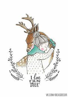 I love you my deer - illustration Art And Illustration, Illustration Mignonne, Christmas Illustration, Christmas Drawing, Christmas Art, Winter Drawings, Theme Noel, Inspiration Art, Book Art