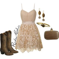 """Whiskey Lullaby"" by rodeo-chic on Polyvore, Lace dress with cowboy boots by @danpostbootco western"