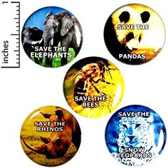 Save The Planet 5 Pack Buttons Wildlife Pin Awareness Humor Badge Pinback Save The Pandas, Save The Rhino, Funny Buttons, Cool Buttons, Bag Pins, Jacket Pins, Save The Elephants, Save The Bees, Lovers And Friends
