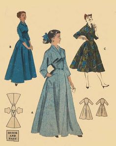 Vintage 1950 s Sewing Pattern Easy House Coat Robe Dressing Gown Bust 48.5