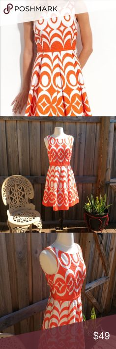 659a79aec Just Taylor Orange & White Fit 'n Flare Dress Cute Geo Print Dress from  Nordstrom