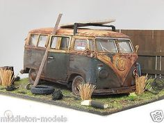 "1/24 VOLKSWAGEN VW T1 SPLITTY BARN FIND DIORAMA CODE 3 "" ANDREW GREEN"" CAMPER | #1034779476 Vw T1, Volkswagen, Day Van, Bus Camper, Diecast Model Cars, Model Kits, Barn Finds, Scale Models, Miniatures"