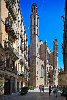 Carrer de la Argenteria. Basilica de Santa Maria del Mar, Barcelona