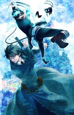 Yukio and Rin Okumura, Kuro. (Blue Exorcist).