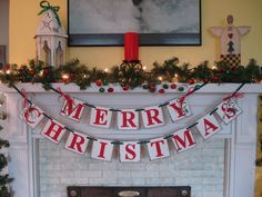 Merry CHRISTMAS Banner Holiday Mantle Garland Holiday Photo Prop Vintage Inspired Holiday Banner. $25.00, via Etsy.