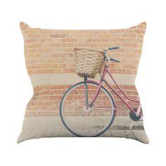 Revisit yesteryear, when peddling a bike with a front-mounted basket meant independence and freedom. You'll love this charming tribute to the vintage bicycle, depicted in beautiful color on the polyest...  Find the Red Rider Throw Pillow, as seen in the Lovely French Farmhouse Collection at http://dotandbo.com/collections/lovely-french-farmhouse?utm_source=pinterest&utm_medium=organic&db_sku=109635