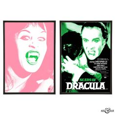 "Two prints from the Hammer horror collection by Art & Hue inspired by the film ""Scars of Dracula"" starring iconic Christopher Lee & Anouska Hempel."