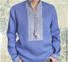 Купить Льняная рубашка с вышивкой СИНИЙ ЛЕН 2 Вышиванка мужская Этно рубаха