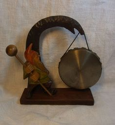 Vintage German Carved Wood Table Gong Gnome #BE