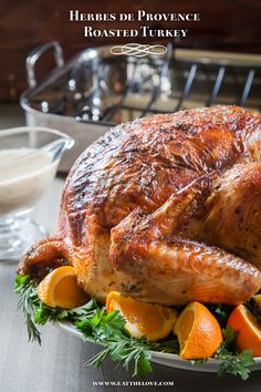 This Herbes de Provence Roasted Turkey is moist and succulent because I roast the turkey upside down first!