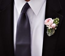 boutonniere option- pale pink and grey