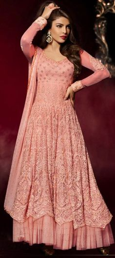 457246 Pink and Majenta color family Bollywood Salwar Kameez in Georgette, Net fabric with Machine Embroidery, Resham, Thread work .