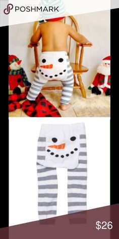 Snowman Cozy Knit Leggings These adorable snowman leggings are so comfy! Constructed to fit over a cloth diaper. These are perfect to wear to grandmas for the holidays! Available in S( fits 3-12 mo), M( fits 12 -18 mo),L(fits 18 mo-2 1/2 years) sandystarfish Bottoms Leggings