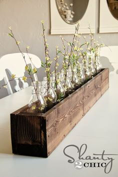 For the Home: DIY Planter Box Centerpiece - Shanty 2 Chic Planter Box Centerpiece, Diy Planter Box, Diy Planters, Centerpiece Ideas, Centerpiece Wedding, Indoor Planter Box, Planters Flowers, Long Planter, Bottle Centerpieces