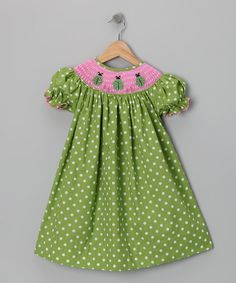 Take a look at this Green Ladybug Bishop Dress - Infant, Toddler & Girls by Classic Charm: Kids' Smocking on #zulily today!