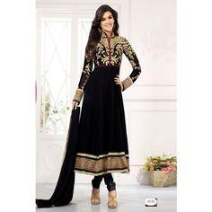 Black Designer Long Length Anarkali Suits