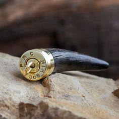 Springbok Horn Pendant, Brass Bullet Casing Pendant, Hunting Trophy-3745