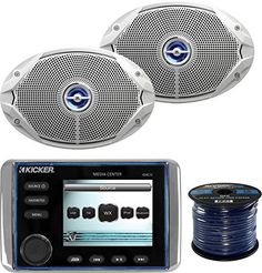Cover 2 Siver Speakers New Marine Boat Yacht AM//FM MP3 USB AUX Radio Player