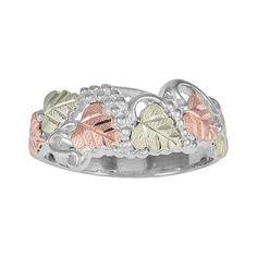 Black Hills Gold Tri-Tone Grapevine & Leaf Ring in Sterling Silver