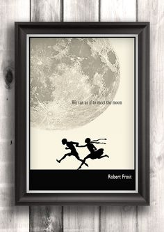 Literary Posters, Robert Frost Quote, Illustration Art Print, Literature Quote, Typographic Print, Moon on Etsy, $16.00
