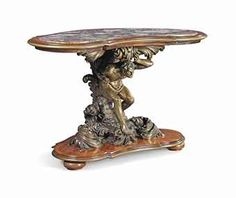 AN ITALIAN KINGWOOD, MARBLE AND PATINATED-BRONZE FIGURAL CONSOLE TABLE -   THE BASE CAST FROM A MODEL ATTRIBUTED TO LUDOVICO POGLIAGHI (1857-1950), MILAN, LATE 19TH/EARLY 20TH CENTURY -   The serpentine inset Breccia di Sciro marble top within an ormolu and kingwood band, above a support figure with a shell standing on a scrolling foliate base, above a shaped foot on bun feet  31 in. (79 cm.) high; 47 ¼ in.(120 cm.) wide; 24 ¾ in. (63 cm.) deep