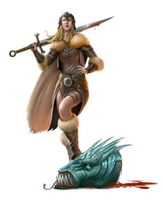 Female Human Barbarian Dragon Slayer - Pathfinder PFRPG DND D&D d20 fantasy