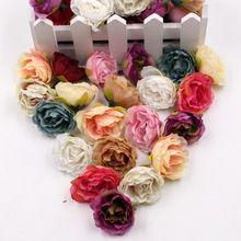 En gros 100 pcs Floraison Pivoine Tissu Fleurs Artificielles Pour Le Mariage Parti Home Chambre Chaussures Chapeaux Décoration Mariage Soie Fleurs(China)
