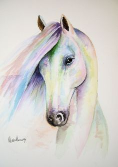 """An original watercolour HORSE painting by artist Maria Moss. A4 size painting 12"""" x 8.5"""""""