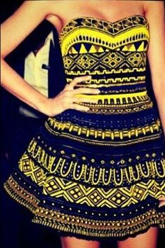 Tribal yellow print dress