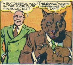 A successful wolf in the world of finance, eh? Horror Comics, Funny Comics, Werewolf Art, Comic Art, Comic Books Art, Weird Pictures, Comic Book Panels, Book Images, Panel Art