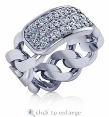 Celline Pave Set Round Cubic Zirconia Cuban Curb Chain Link Mens Ring in white gold by Ziamond Cubic Zirconia Jewelers. Holiday Jewelry, Jewelry Gifts, Cubic Zirconia Rings, Cuban, 18k Gold, Rings For Men, White Gold, Bling, Engagement Rings