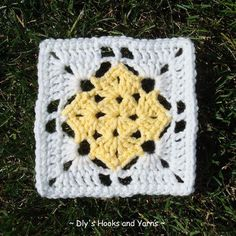 """Square in a Square - free pattern by Debi Yorst of Dly's Hooks and Yarns.  5.5"""" with worsted yarn & J hook, 6 rounds   . . . .   ღTrish W ~ http://www.pinterest.com/trishw/  . . . .  #crochet #motif"""