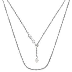 Sterling Silver Rhodium Plated 22 Inches Sliding Adjustable Cable Chain - Width 1.2mm