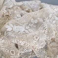 "Antique Handmade TAMBOUR & Irish Crochet LACE Trim 7"" Wide 140"" Long * WEDDING in Antiques, Linens & Textiles (Pre-1930), Lace, Crochet & Doilies 