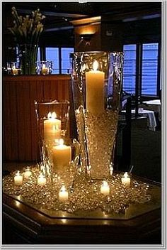 candle décor so easy but elegant---for our 100th anniversary celebration next year!