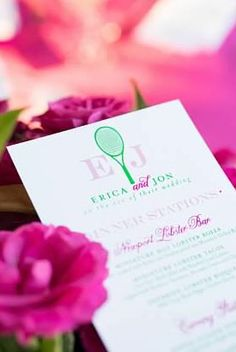 Pink and green custom tennis-themed rehearsal dinner menus I Custom by Nico and Lala
