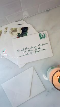 Spring green and fine art envelope liners. We adore the contrast. What do you think?! Custom Stationery, Stationery Design, Custom Invitations, Wedding Stationery, Addressing Envelopes, Wedding Invitation Suite, Envelope Liners, Spring Green, Wax Seals