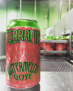 It's an exciting day at the brewery! We're canning our first batch of the Watermelon Gose AND we're sharing it on Snapchat  TerrapinBeerCo #newbeer #watermelongose #my_athens #drinkcraft #craftcans