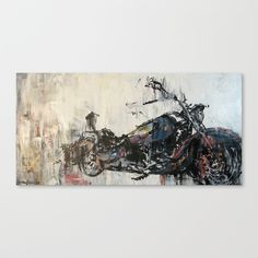 Dreams of the Open Road (vintage motorcycle painting)  Canvas Print by christinaLoraine - $85.00