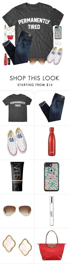 """Why am I forever and always tired?? RTD"" by bowhunter1498702 ❤ liked on Polyvore featuring American Eagle Outfitters, Converse, S'well, NARS Cosmetics, LifeProof, Ray-Ban, philosophy, Carolee and Longchamp"