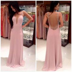 Deep v-neck halter dress length skirt Slim dress,Backless Pink Prom Dresses Deep V-neck Long Length Skirt Slim Open Backs 2015 Prom Gown