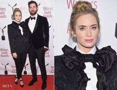 Fashion Blogger Catherine Kallon features Emily Blunt In Dolce & Gabbana and John Krasinski In Salvatore Ferragamo - 71st Annual Writers Guild Awards
