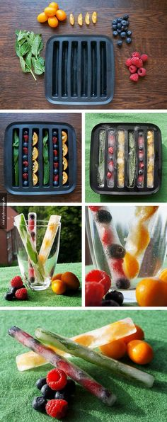 Summer Ice Cubes - DIY with fruits. This would be a smart idea for fruit infused water Healthy Drinks, Healthy Snacks, Healthy Eating, Healthy Recipes, Fruit Recipes, Smoothie Recipes, Healthy Food Tumblr, Tumblr Food, Smoothie Cleanse