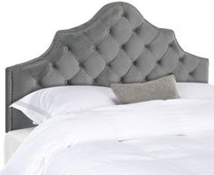 Safavieh Furniture Arebelle Pewter Velvet Headboard - Furnishings that outfit the hotel suite that's a second home to the residents of Buckingham Palace inspired this tufted velvet headboard. Designed for the