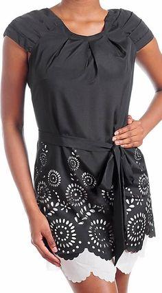 Black Eyelet Dress White Lining Accent Gathered Cap Sleeve Sash Belted Waist #Fashion #Shift #Casual