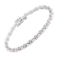 Perl-Armband silber mit weißen Muschelkernperlen und weißen Zirkonia-Steinen | BRIDAL COLLECTION | Diamonfire